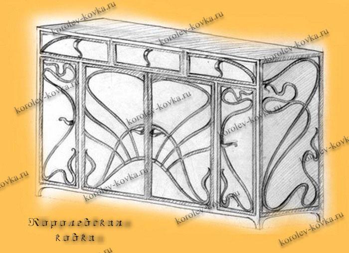 Рисунок комода с ковкой